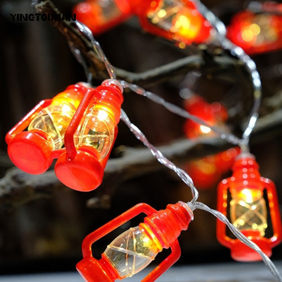 YINGTOUMANT 5pcs/lot 2018 Mini Lantern Lamp Battery String Light Christmas Wedding Party Festival Decoration Lights 2m 20LED