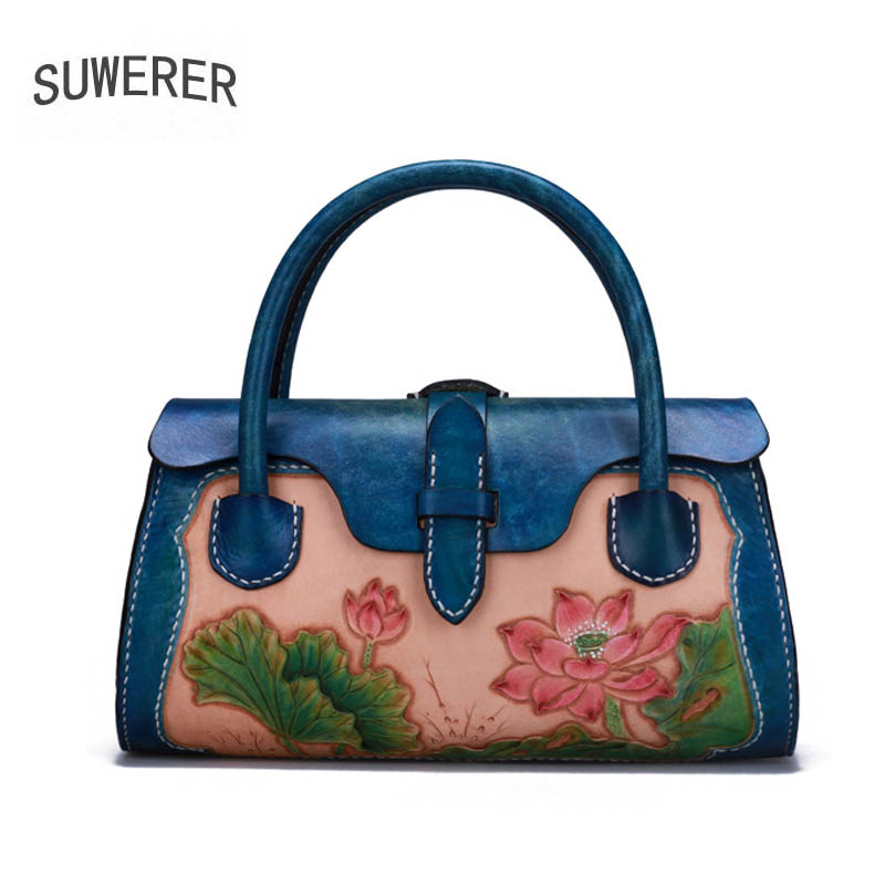 SUWERER women genuine leather bag 2019 New top cowhide Hand Carved women handbags fashion Luxury tote women leather bagSUWERER women genuine leather bag 2019 New top cowhide Hand Carved women handbags fashion Luxury tote women leather bag