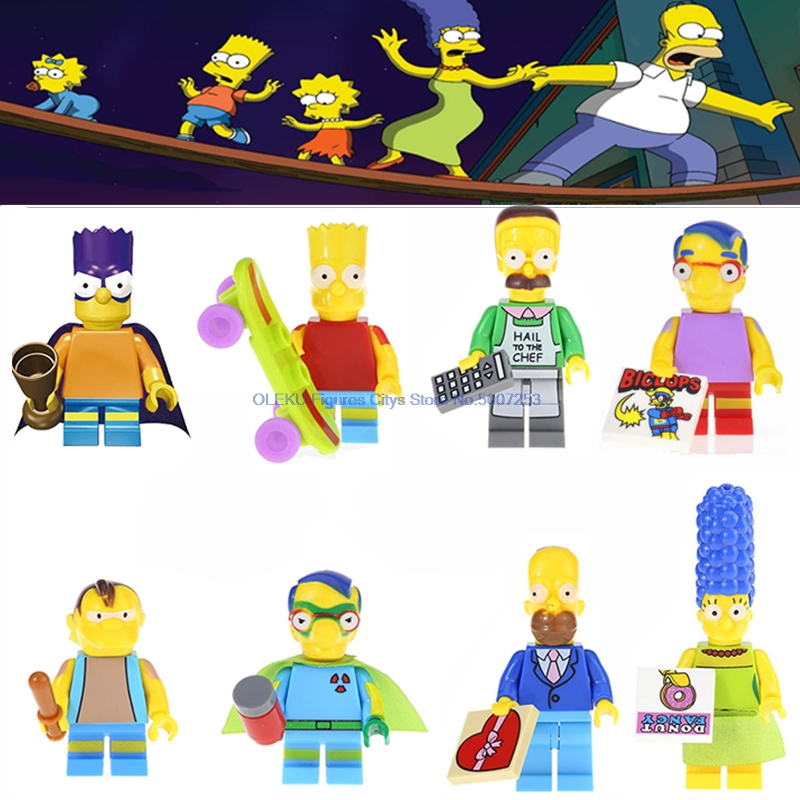 Toys Bricks-Kits Figures Building-Blocks Homer Bart Movie Simpson-Series Kwik-E-Mart