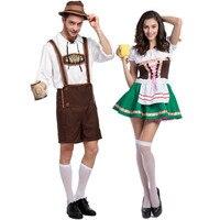 Halloween mascot Costumes Oktoberfest Beer Maid Waiter Costume Beer Man Women Bavarian Guy Lederhosen Cosplay Clothing