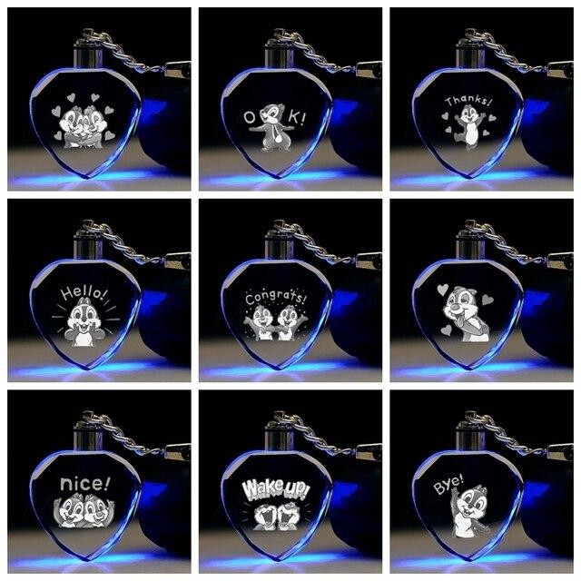 Chipmunk Esquilo Forma de Coração Anime Brinquedo Figura Chaveiro Cristal LED Chaveiro LOGOTIPO Chaveiro Keyholder Luz Presente NOVO