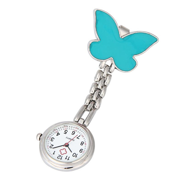 Timezone#30 Clip-on Fob Brooch Pendant Hanging Watch Women Butterfly Design Unisex Watches Fashion Doctor Nurse Pocket Watch