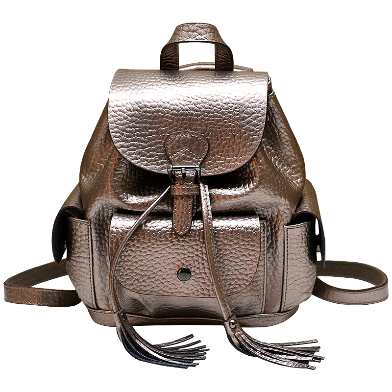 2018 Elephant Pattern Cowhide Leather Women Backpack Tassel Drawstring Cover Bag Luxury Student School Bagpack Silver Red Black-in Backpacks from Luggage & Bags    2