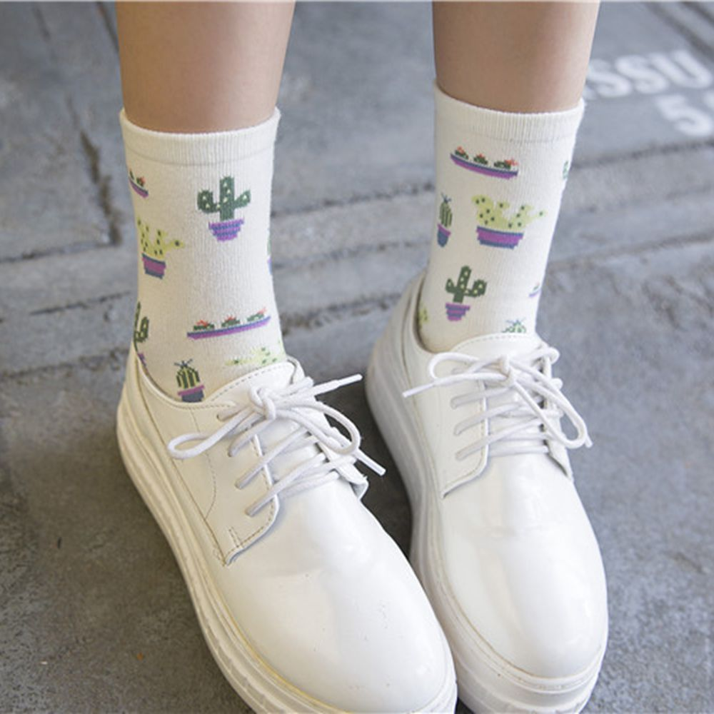 1Pair Spring Summer Women Girl Plant Cactus Pattern Comfortable Lovely Cute Cotton   Socks   Female Casual Warm Soft Funny   Socks