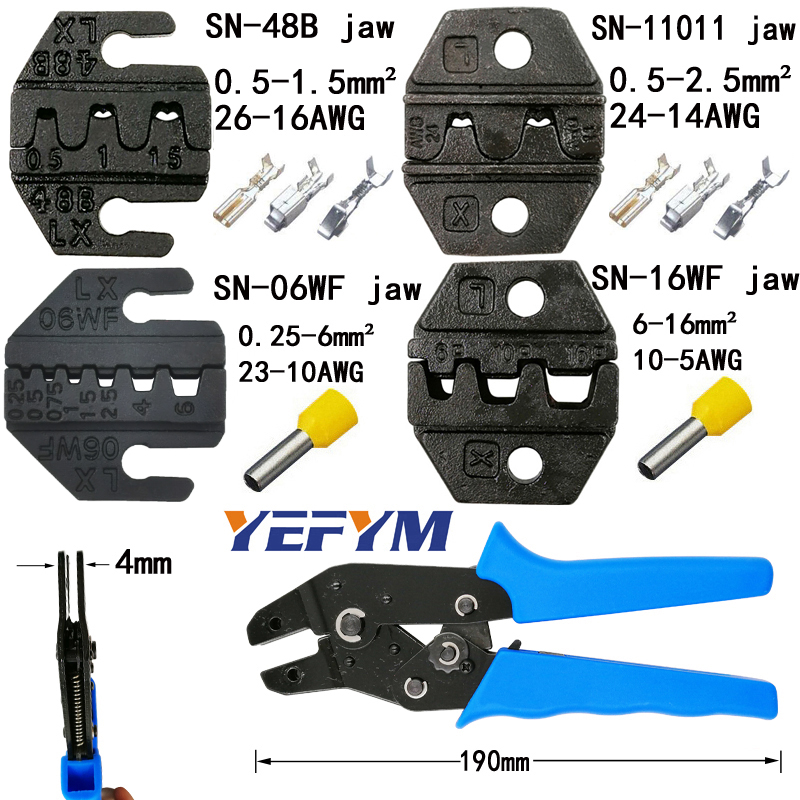 YEFYM Crimping Pliers Jaw (jaw Width 4mm/pliers 190mm) For TAB 2.8 4.8 6.3 C3 XH2.54 2510 Plug Insulation Tube Terminal Tools