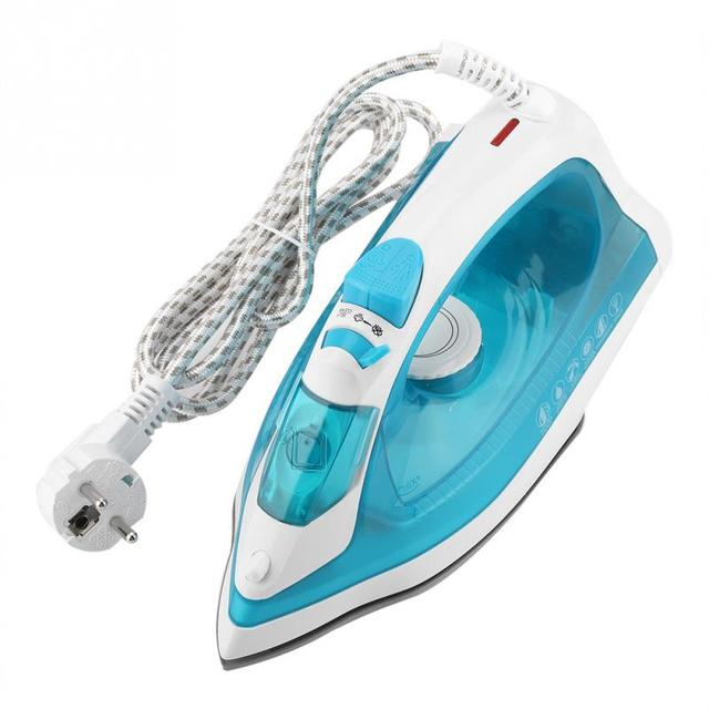 EU 220V 1600W Electric Steam Iron Wire 5 Gears Adjust Ceramic soleplatefor Garment Clothes Measuring Cup for Home