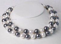 Long 33 12MM Elegant White Black South Sea Shell Pearl Round Beads Necklace Dongguan Girl Store
