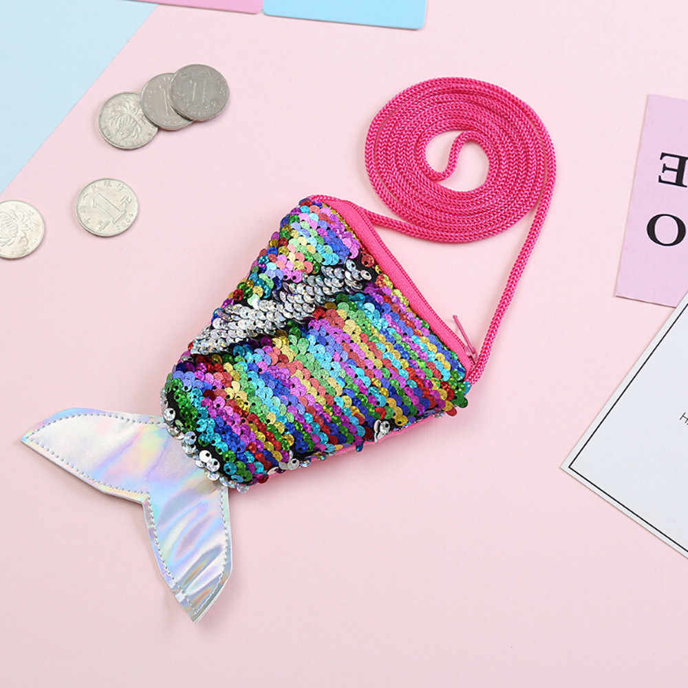 Sequins Wallets Children Coin Purses Kids Girls Handbags Zipper Wallets Cute Pouch Key Packet Fish tail Small Mini Coin Bag
