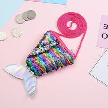 Sequins Wallets Children Coin Purses Kids Girls Handbags Zipper Wallets Cute Pouch Key Packet Fish tail Small Mini Coin Bag(China)