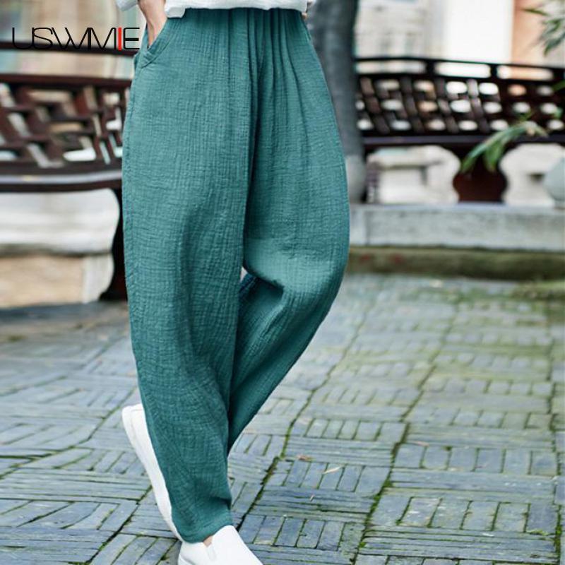 2020 Summer Plus Size Pants Literary Retro Elastic Waist Loose Solid Color Pockets Elastic Waist Loose Comfort Flax Harem Pants