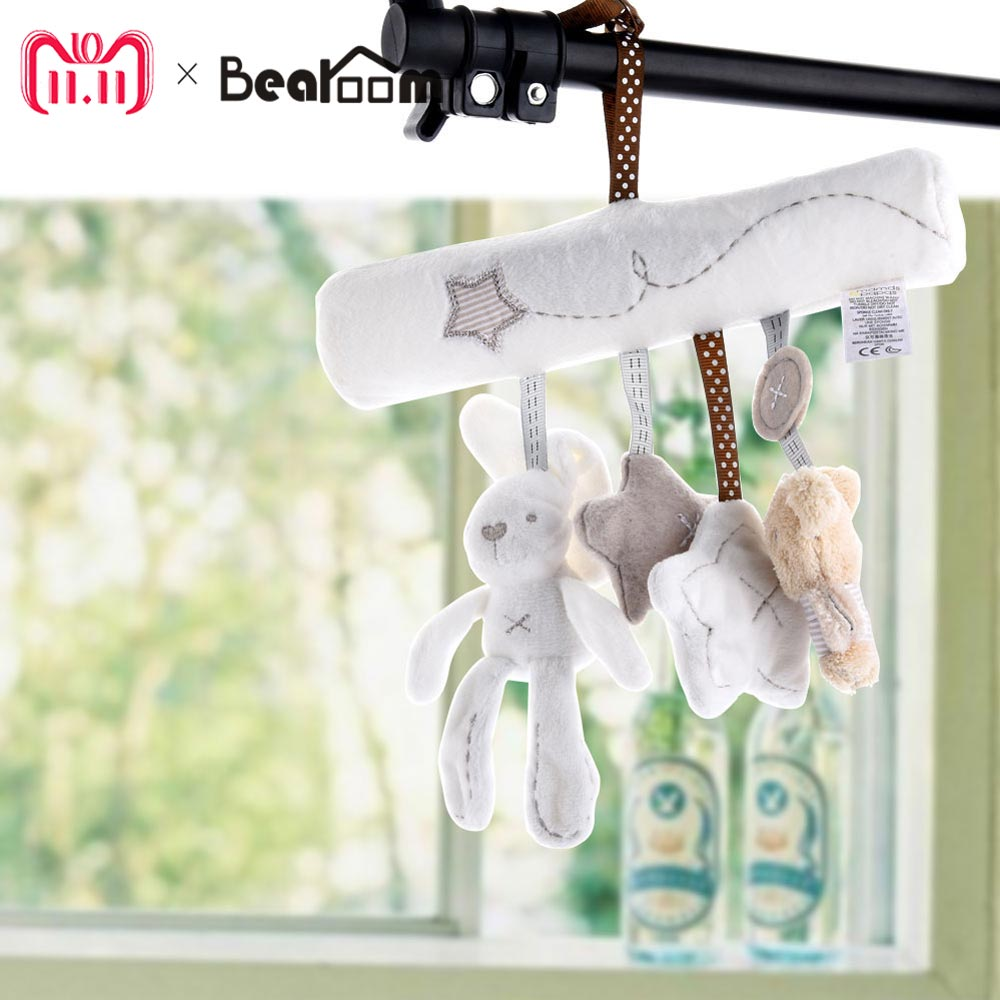 Bearoom Baby Rattles Cute Stroller Toy Musical Mobile Baby Toys Hand Bell Rabbit Music Doll Bed Bell For Infant Stroller shiloh crib mobile infant baby play toys animal bed bell toy mobile cute lovely electric baby music educational toys 60 songs