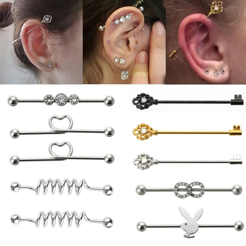 Sale Cool Fashion Earrings 316L Surgical Steel Scaffold Barbell Body Piercing Jewelry Long Diverse Ear Studs Bar Gift 8 Styles