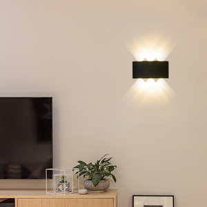 Image 2 - 白黒壁ランプアルミランプシェード照明器具ベッドサイド、リビングルームライトAC85 260Vウォームまたはクールホワイト照明