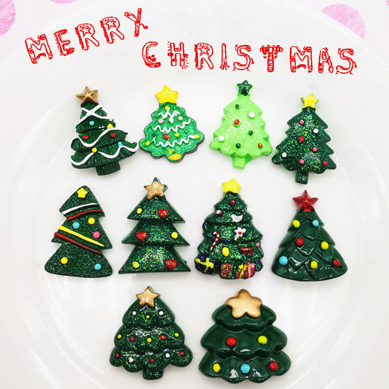 7 Pcs/lot Slime Charms Christmas Tree Resin Slime Filler For Kids Lizun Plasticine DIY Slime Accessories Supplies Decoration