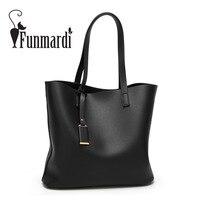 FUNMARDI Luxury Vintage Leather Bags Classical Brand Women S Handbag Simple Design Shoulder Bags Fashion Totes