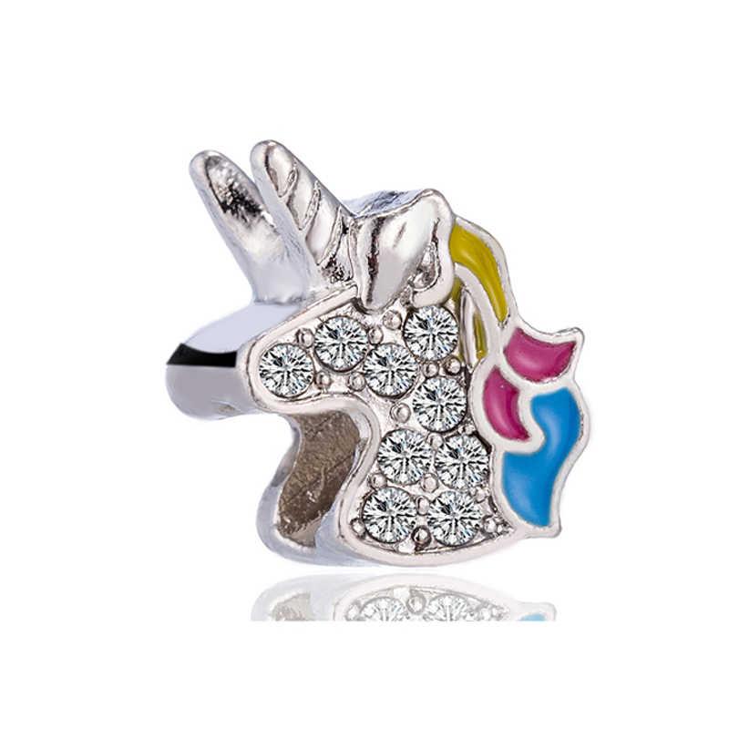 Venda quente Pequeno Evil Eye Unicorn Estrelas Da Música Coelho Urso Pingentes de Esmalte Encantos Beads Fit Pandora DIY Pulseiras para As Mulheres amante