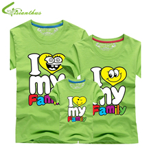 I love my Family T Shirts Summer Family Matching Clothes Father Mother