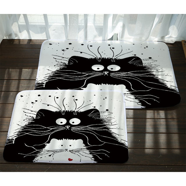 Online Shop Miracille Modern Cartoon Black White Cat Printed Door