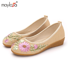 2017 New women Flat Shoes Ballerinas Dance Embroidery Shoes femme Vintage Embroidery Casual Canvas shoes ML08