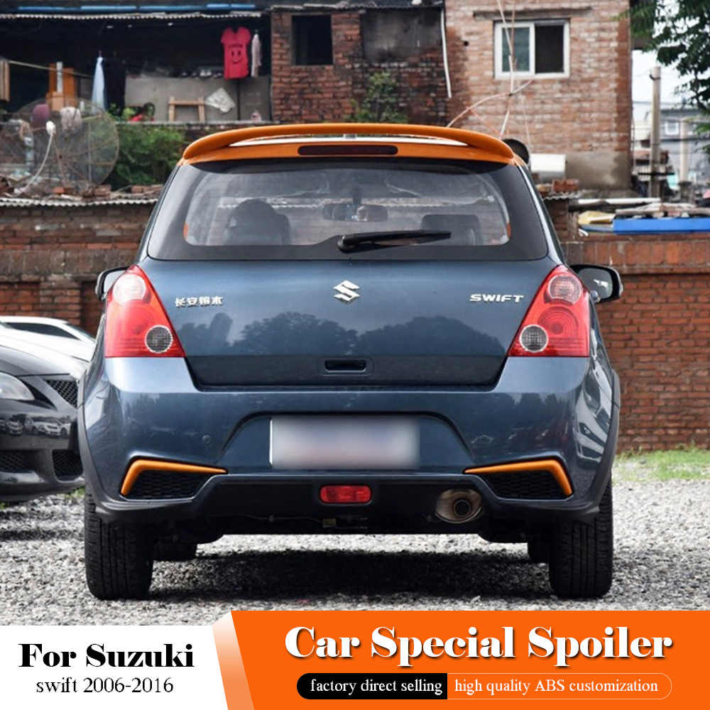 AITWATT Black Rear Spoiler High Quality ABS Material Car Rear Wing swift Primer Color Tail Spoiler For Suzuki Swift 2006-2016