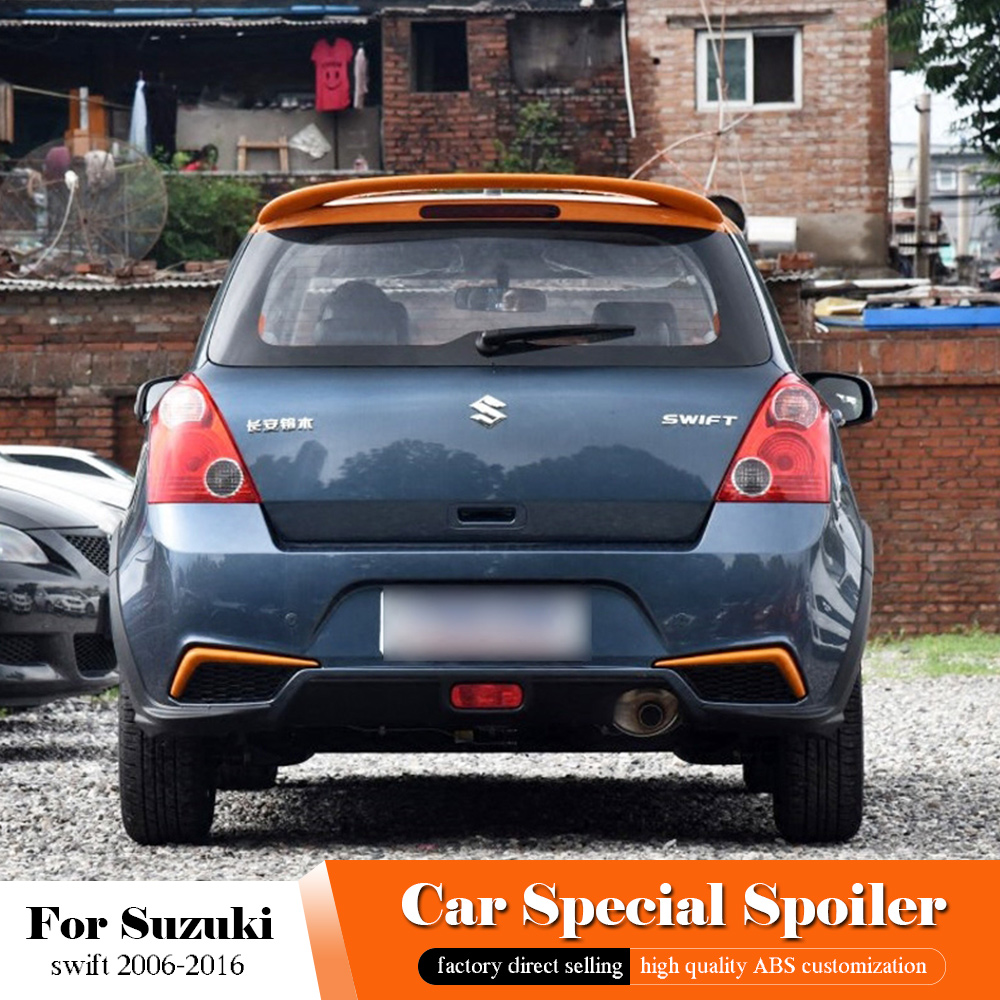 AITWATT Black Rear Spoiler High Quality ABS Material Car Rear Wing <font><b>swift</b></font> Primer Color Tail Spoiler For <font><b>Suzuki</b></font> <font><b>Swift</b></font> 2006-2016 image