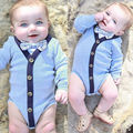 Cute Toddler Kids Baby Girl Boy Bodtsuits Clothes Cute Bow Formal Cotton Bodysuit Long Sleeve Jumpsuit Outfits 2016