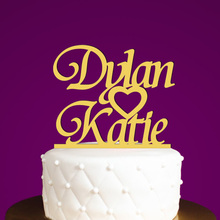 Personalized Anniversary cake topper Custom rustic gold cake topper Wedding Cake Decoration