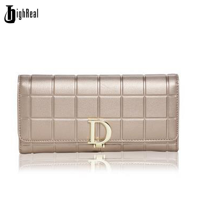 HIGHREAL New Fashion Women Wallets Female Cards Holders Split Leather Wallet Coin Purses Girl Long Wallet