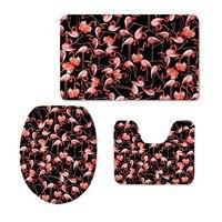 NEWEST Flamingo Pattern 3 Pieces Set Toilet Seat Cover Rugs U Shape Floral Bathroom Small Carpet