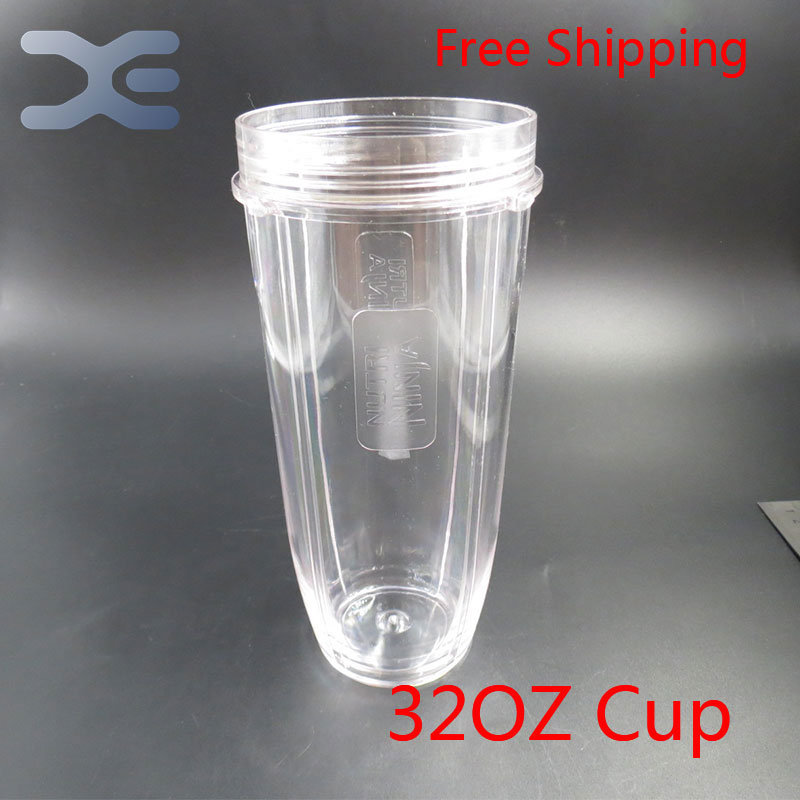 5Per Lot Nutri Ninja Blender Juicer 32OZ Clear Replacement Mug Cup For Replacement 1000W Auto Blender Spare Parts 8 replacement spare parts blender juicer parts 4 rubber gear 4 plastic gear base for magic bullet 250w 38