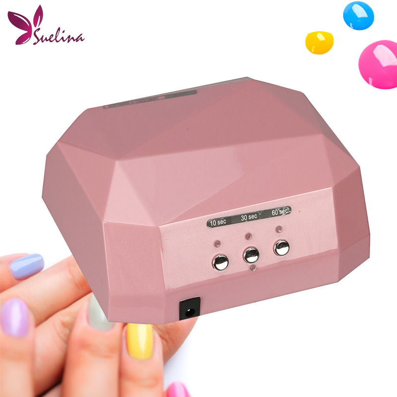 Suelina Nail Dryer Fast Drying Profession Diamond Shaped Lamp CCFL+LED&UV+LED Curing For All Types Of Gel Polish DIY Nail Art 12w led nail dryer curing lamp machine nail art tool automatic timer for uv gel nail polish fast drying new style top quality