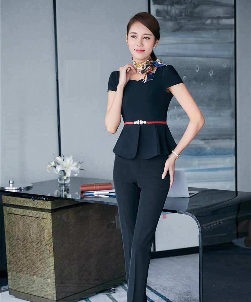 Summer Formal Women Business Suits Work Wear Two Piece Pant and Top Sets Ladies Office Uniform Designs OL Style