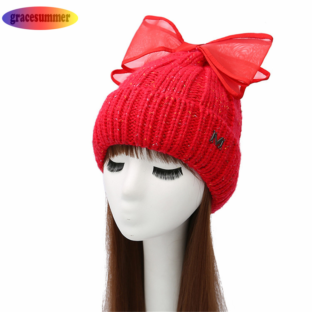 2018 Fashion woman winter cap female Beanies floppy hat hand knitted hats  forbig Bow tie boina feminina gray red beige color-in Skullies   Beanies  from ... 6c12b49edc4