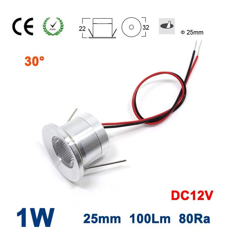 15PCS 1W 100Lm DC12V 80Ra 25mm 30 Degree Mini Led Spot Bulb Light CE RoHS Cabinet Jewerly Display Lamp