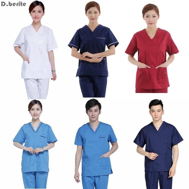 07dcd7aa3d2 Men Women Medical Clothes Set Nursing Clinic Tops & Pants Short Sleeve  Surgical Scrubs Tops & Trousers Hospital Uniform DAJ9166