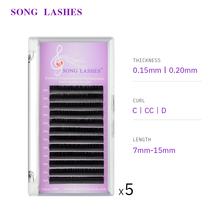 SONG LASHES Ellipse Flat False Eyelash Extensions Soft Thin Tip Flat Roots Saving Time Recommended by Technicians Five trays