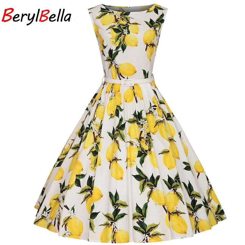 BerylBella nyári női ruhák 2018 alkalmi irodai strand nyári ruha ujjatlan slash ruha citrom virágos vékony ruha plusz méret