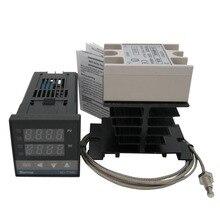 Thermostat de régulateur de température PID numérique de haute qualité 100 240 V AC avec relais à semi conducteurs SSR 40DA + dissipateur de chaleur + Thermocouple K