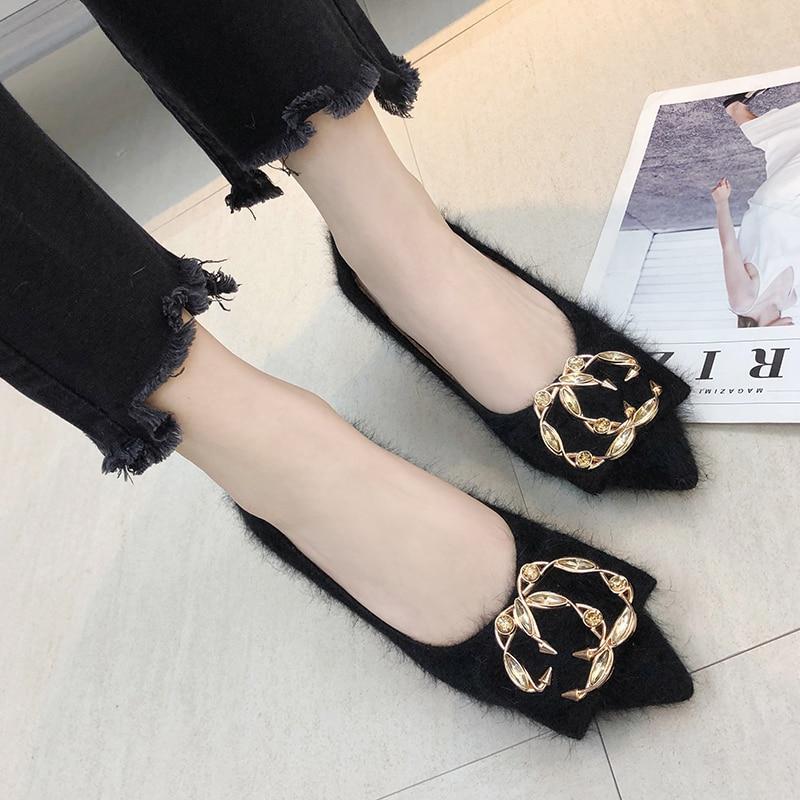 Moda Puntiagudo Pie Casual Bombas Slip Hebilla Zapatos Dedo 2018 on Mujeres De Negro Nuevos caqui Piel Las Del 6SzU8x
