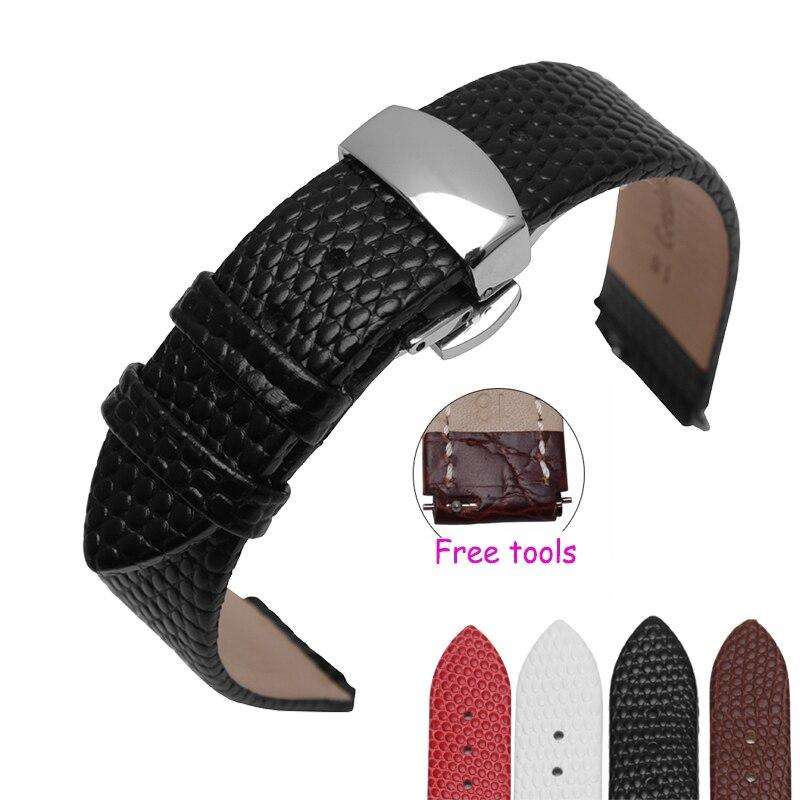 leather watch strap Fit sport business HUAWEI smart Bracelet B2 B3 replacement Butterfly buckle Bracelet 18x15mm 18*16mm