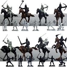 Дети 28 шт. пластиковые мини средневековые Рыцари модели лошадей Солдат Военные Фигурки игрушки игровой набор для мальчика подарки для детей
