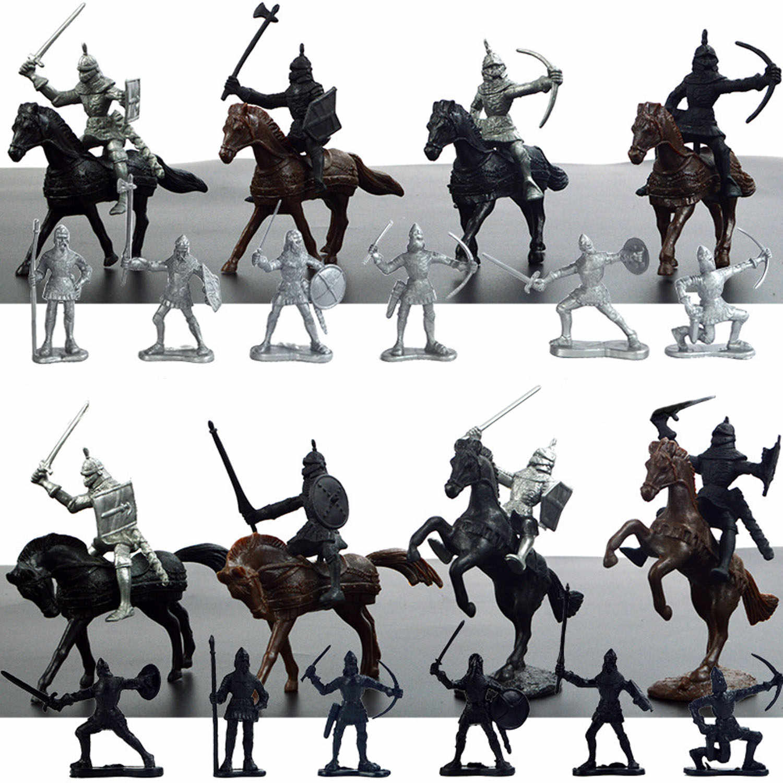 Crianças 28pcs Plástico Mini Medieval Cavaleiros Cavalos Modelo Militar Soldado Figuras de Ação Brinquedos Playset para Crianças Menino Crianças Presentes