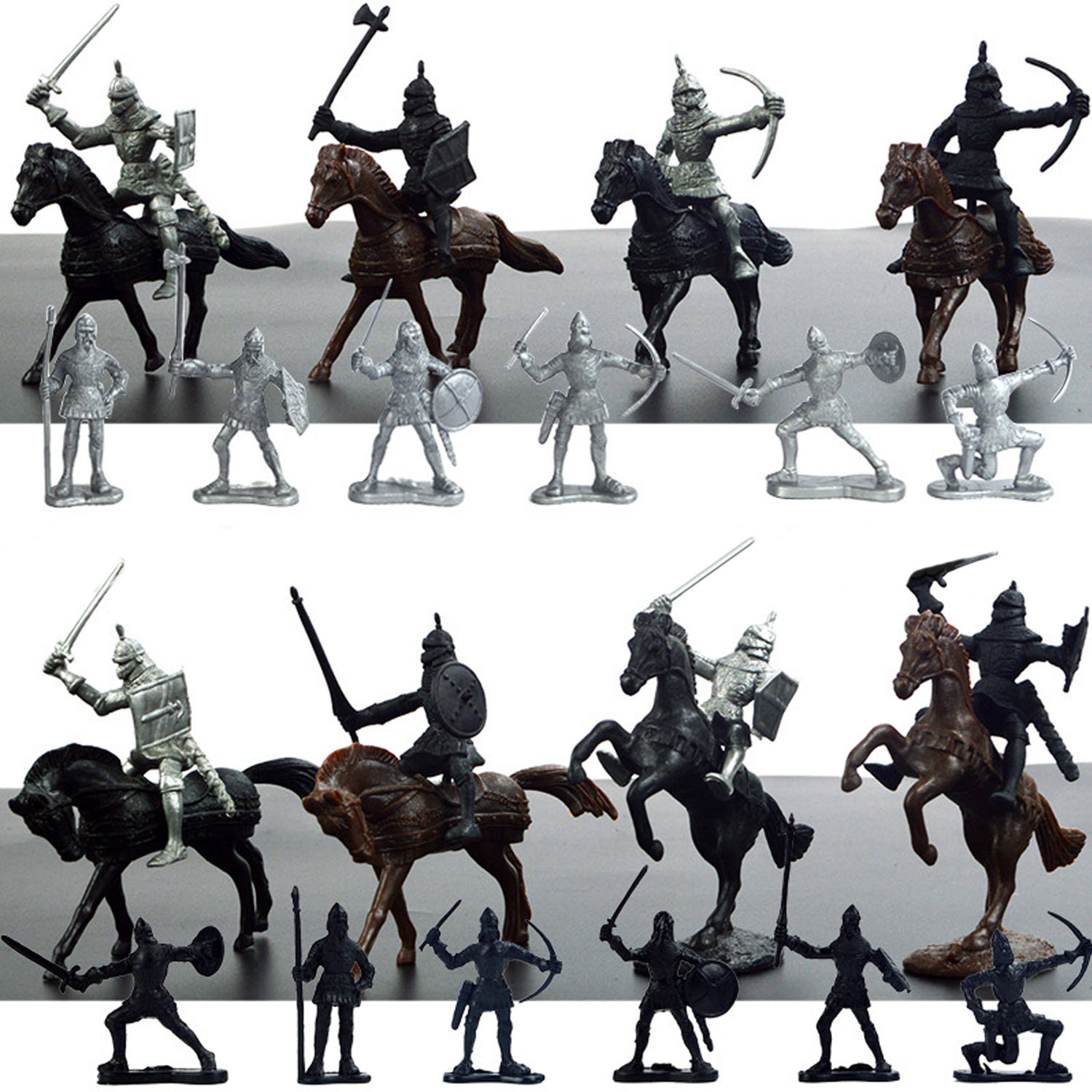 Kids 28pcs Plastic Mini Medieval Knights Model Horses Soldier Military Action Figures Toys Playset For Boy Children Kids Gifts
