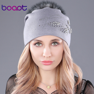 Image 2 - [boapt] pearl natural raccoon fur hats cashmere knitted fluffy pompon hat for womens caps casual winter female skullies beanies