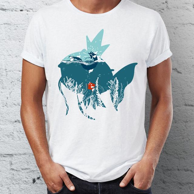 Pokemon Magikarp y Gyarados Camiseta con Manga Corta