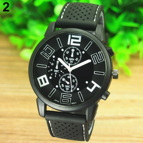 17 Men's Casual Sports Stainless Steel Silicone Band Quartz Analog Wrist Watch Fashion Style Water Proof 4
