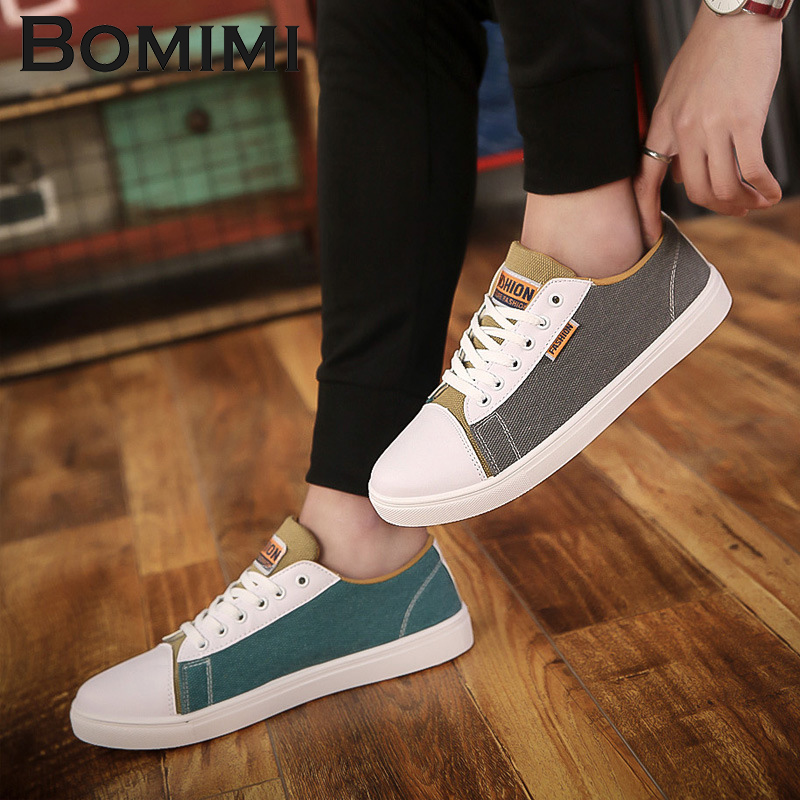 BOMIMI Fshion Men Sneakers Mens Canvas Shoes for Lace-Up Brand Fashion Flat Male Shoe Size 39-44