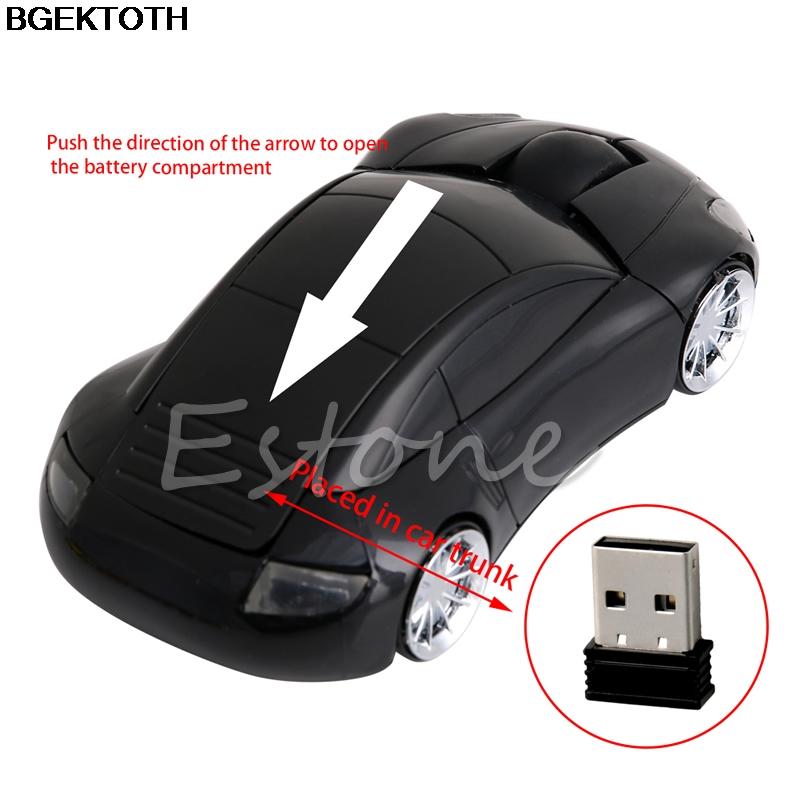 2 4G 1600DPI Mouse USB Receiver Wireless LED Light Car Shape Optical Mice