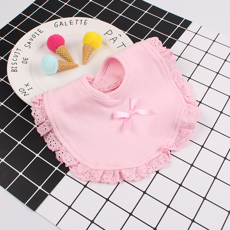 7Lace Baby Girl Cotton Bibs Double Layer Absorption Infant Saliva Towel Embroidery Crown Letter Sweet Newborn Girl Burp Cloth