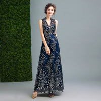 Summer Dress Women 2017 Classical Bronzing Pattern Gauze Sexy Party Long Dresses Blue Deep V-neck Back Hollow Out Bandage Dress